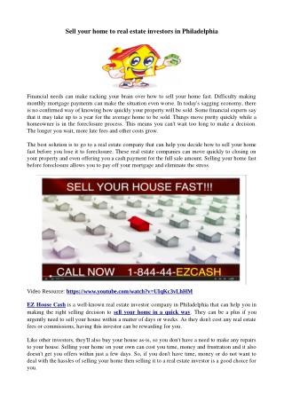 Sell your home to real estate investors in Philadelphia