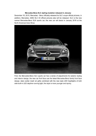 Mercedes-Benz SLC styling mutation released in January