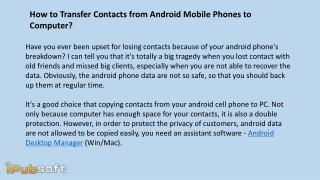 How to Transfer Contacts from Android Mobile Phones to Computer