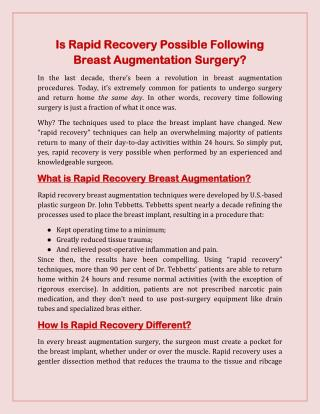 Is Rapid Recovery Possible following Breast Augmentation Surgery