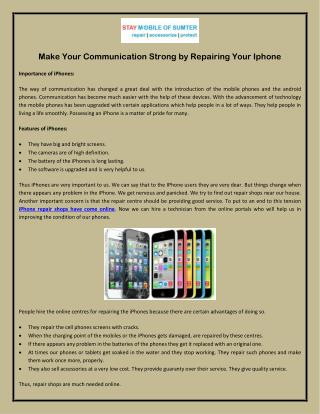 Make Your Communication Strong by Repairing Your Iphone