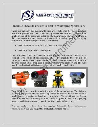 Automatic Level Instruments Wholesaler, Exporters India