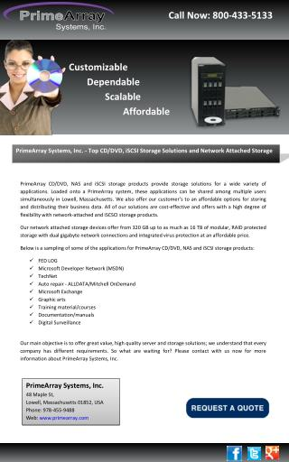 PrimeArray Systems, Inc. - Top CD/DVD, iSCSI Storage Solutions and Network Attached Storage
