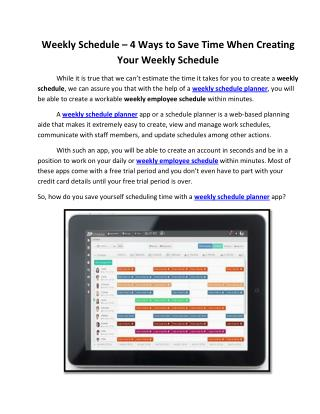 Weekly Schedule � 4 Ways to Save Time When Creating Your Weekly Schedule