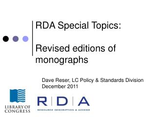 RDA Special Topics:  Revised editions of monographs