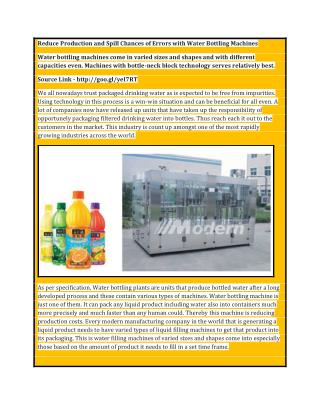 Reduce Production and Spill Chances of Errors with Water Bottling Machines