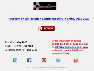 Research on Air Pollution Control Industry in China, 2015-2020