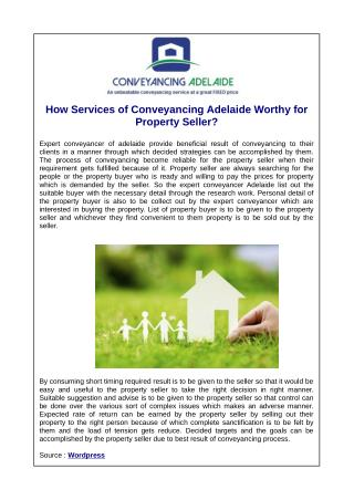 How Services of Conveyancing Adelaide Worthy for Property Seller?