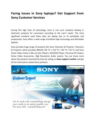 Facing Issues in Sony laptops? Get Support from Sony Customer Services