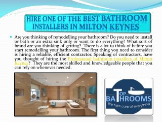 Hire One of the Best Bathroom Installers in Milton Keynes