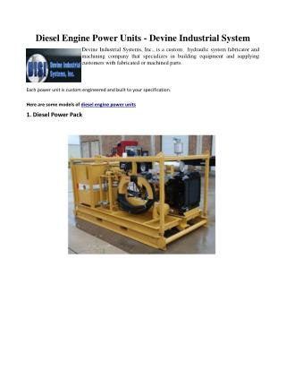 Diesel Engine Power Units - Devine Industrial System