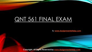 QNT 561 Final Exam Question With Answers.