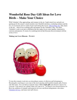 Wonderful Rose Day Gift Ideas for Love Birds � Make Your Choice