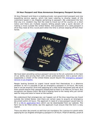 24 Hour Passport and Visas Announces Emergency Passport Services