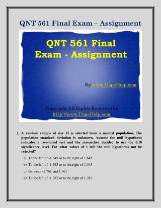 QNT 561 Final Exam Study  Guide
