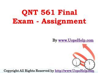 QNT 561 Final Exam 2016