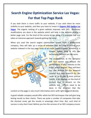 Search Engine Optimization Service Las Vegas: For that Top Page Rank
