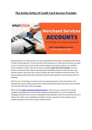 Online Merchant Credit Card Services