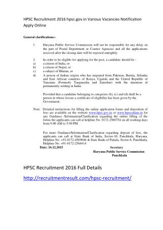 HPSC Recruitment 2016 Hpsc.gov.in Various Vacancies Notification Apply Online