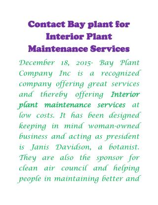 Plant maintenance services ca