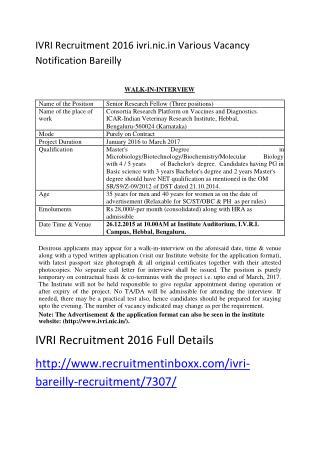 IVRI Recruitment 2016 Ivri.nic.in Various Vacancy Notification Bareilly