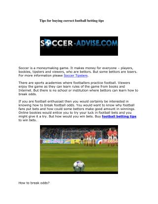 Tips for buying correct football betting tips