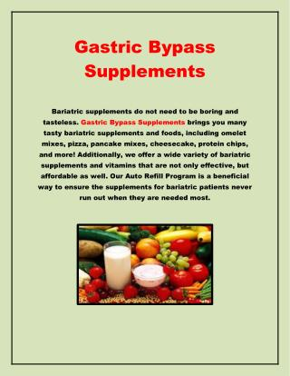 Gastric Bypass Supplements