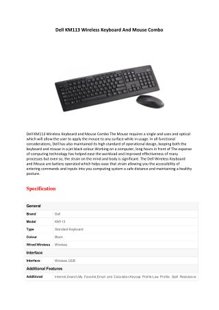 Dell KM113 Wireless Keyboard And Mouse Combo