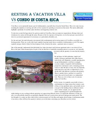 Renting a Vacation Villa vs Condo in Costa Rica