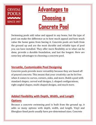 Advantages to Choosing a Concrete Pool