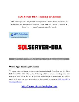 SQL Server DBA Training in Chennai