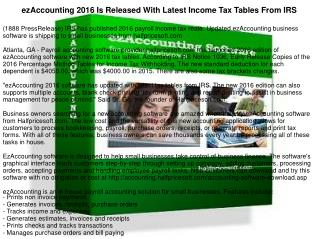 ezAccounting 2016 Is Released With Latest Income Tax Tables From IRS