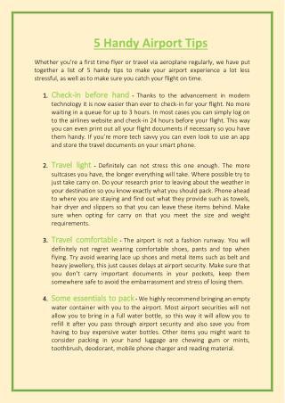 5 Handy Airport Tips
