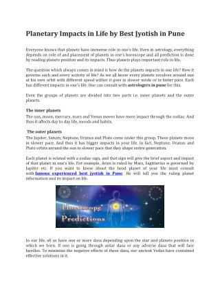 Planetary Impacts in Life by Best Jyotish in Pune
