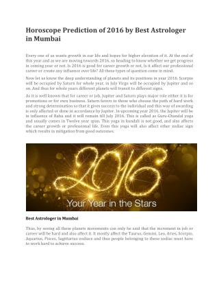 Horoscope Prediction of 2016 by Best Astrologer in Mumbai