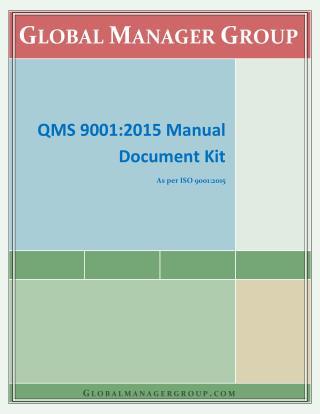 ISO 9001 Manual as per 2015