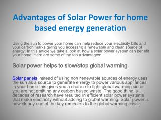 Advantages of Solar Power for home based energy generation