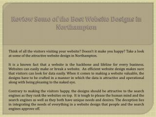 Review Some of the Best Website Designs in Northampton