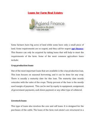 Loans for Farm Real Estates