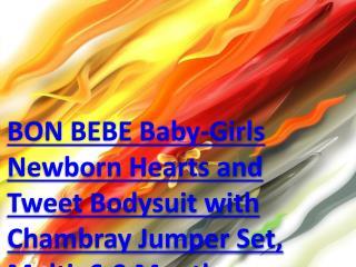 BON BEBE Baby-Girls Newborn Hearts and Tweet Bodysuit with Chambray Jumper Set, Multi, 6-9 Months