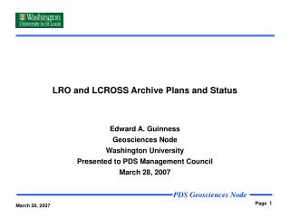 LRO and LCROSS Archive Plans and Status