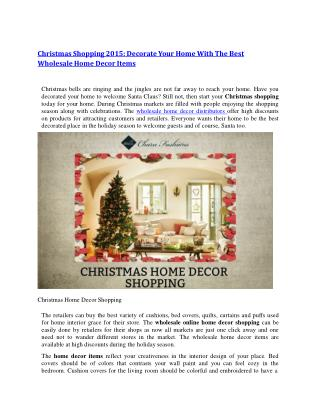 Christmas Shopping 2015: Decorate Your Home With The Best Wholesale Home Decor Items