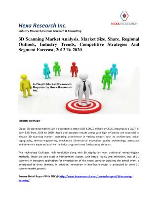 3D Scanning Market Analysis, Share, Regional Outlook, Industry Trends, Competitive Strategies And Segment Forecast, 2012