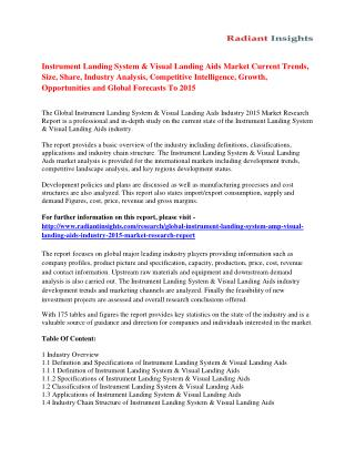 Instrument Landing System & Visual Landing Aids Market Size, Share, Analysis And Forecasts To 2015