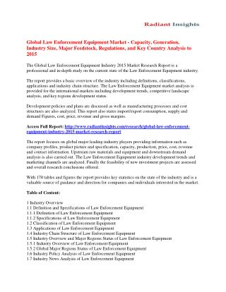Law Enforcement Equipment Market Analysis, Size, Share, Growth, Trends And Forecast To 2015