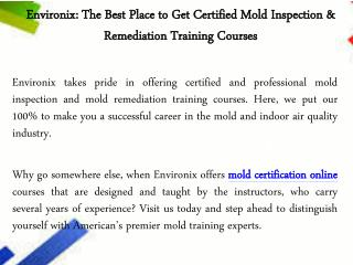 Mold Certification Online Courses