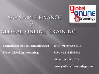 SAP SIMPLE FINANCE TRAINING | SAP SIMPLE FINANCE ONLINE TRAINING