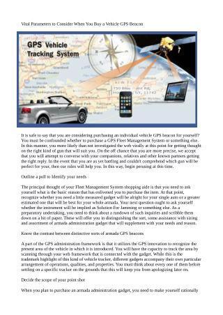 Vital Parameters to Consider When You Buy a Vehicle GPS Beacon