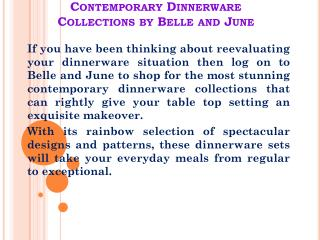 Contemporary Dinnerware Collections