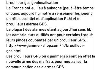 Syst�mes d�alarme et brouilleurs GPS